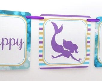 Mermaid Party Banner, Mermaid Birthday Banner, Mermaid Banner, Mermaid Party Decoration