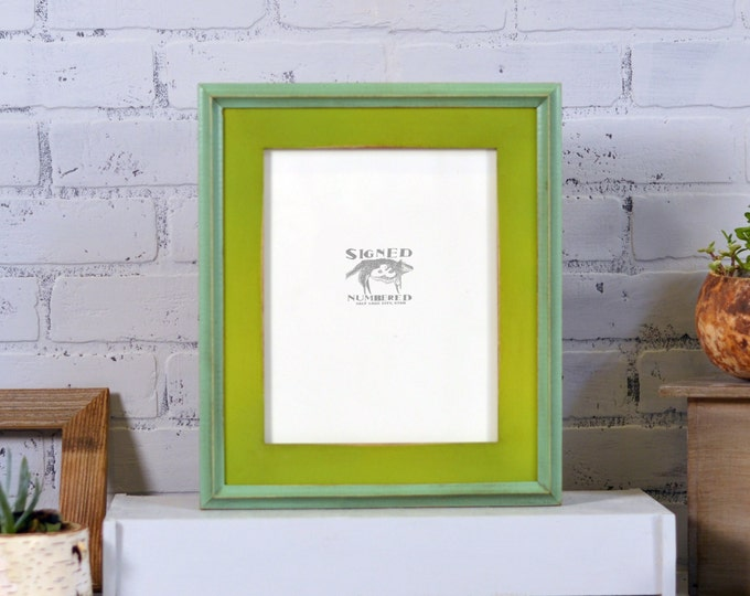 8x10 Picture Frame with Vintage Asparagus Finish in Vintage Robin's Egg Better Double Cove Build Up Edge - Can Be Any Color Combination