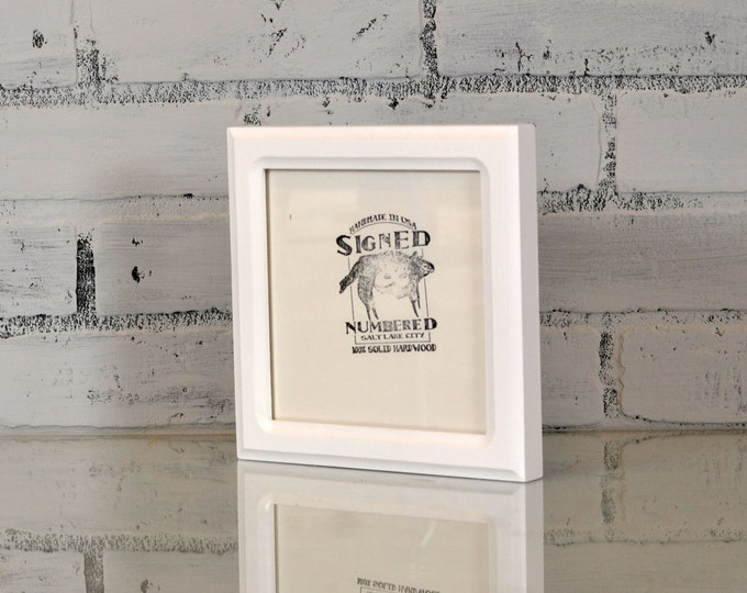 6x6 inch Square Picture Frame in Double Cove Style with Solid White Finish - Handmade Solid Wood Modern 6x6 Photo Frame