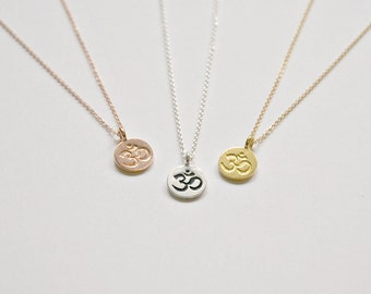 Om necklace, small round ohm symbol, gold om charm, sterling silver om disk, rose gold om, yoga lover gift, minimalist jewelry - Indira