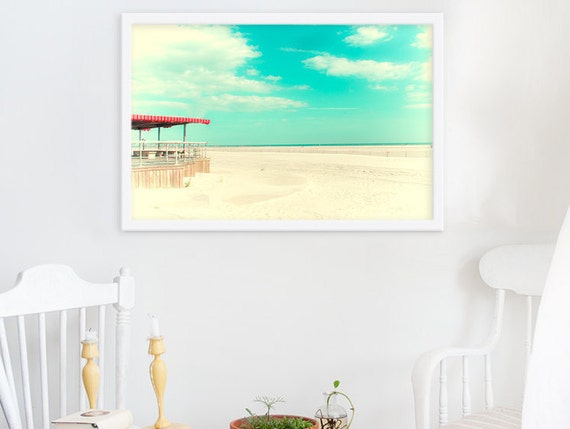 Still Summer // Bright Aquamarine Long Island Beach Sky // Large Photography Art Print for Large Wall // Modern Distressed Photograph