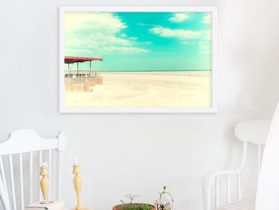 Still Summer // Bright Aquamarine Long Island Beach Sky // Large Photography Art Print for Large Wall // Modern Distressed Photograph