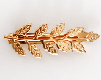 Fairy Leaf Clip, Gold Leaf Clip, Gold Grecian Barrette, Nature Inspired Hair Accessory, Fairy Hair Jewelry, Rustic Wedding Clip, Goddess