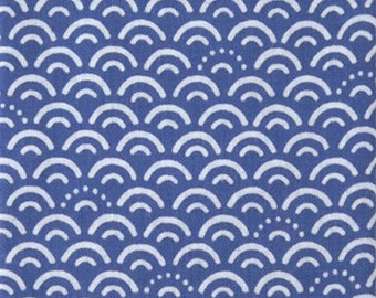 Japanese Tenugui Cotton Fabric, Traditional Fine pattern Fabric, , Blue Water, Blue Sea Design, Hand Dyed Fabric, Art Wall, Home Decor, k159