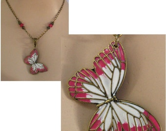 Gold Pink Enamel Butterfly Pendant Necklace Jewelry Handmade Chain Adjustable New