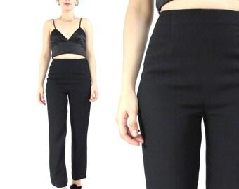 Vintage Black Trousers High Waisted Trousers Minimalist Black Pants Business Professional Preppy Petites Womens Suit Pants (XS)