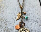 Essential Oil Diffuser Locket Necklace  - Antique Brass