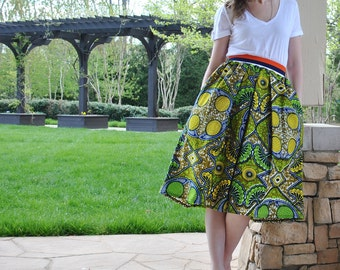 SALE Holland wax Skirt/African wax print/African cotton skirt/Full pleated skirt/Holland wax/African skirt/African print clothing/rusteam