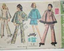 """Vintage 60's Simplicity Sewing Pattern 8533 Jiffy Mini-skirt, Poncho Top  and Pants   Size 8 Bust 31.5"""""""