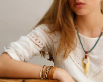 Leather Wrap Bracelet, Womans Wrap Leather Bracelet, Hermes Brown/ chestnut wrist wrap Bracelet, Bohemian leather Bracelet. Triple Wrap Cuff