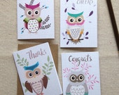 Set of 4 Mini Notes - Owl Greetings Gift Enclosure Cards