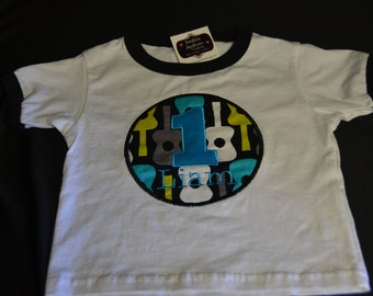 1st Birthday Shirt Groovy Guitar theme # 1, name Liam, size 3.  Short sleeve.  Ready to ship.  All Sales Final.  AS IS.Clearance Sale!