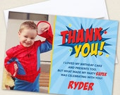 Superhero Photo Thank You Cards - Professionally printed *or* DIY printable