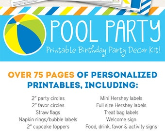 Pool Party Birthday Printable Decor Kit - Over 75 pages of personalized printables!