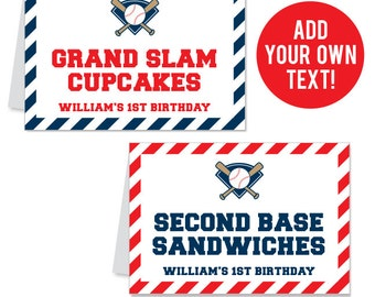 INSTANT DOWNLOAD Baseball Party Buffet Cards - EDITABLE Printable File