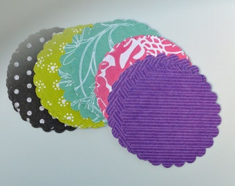 25 Scalloped Die Cuts- Assorted Prints