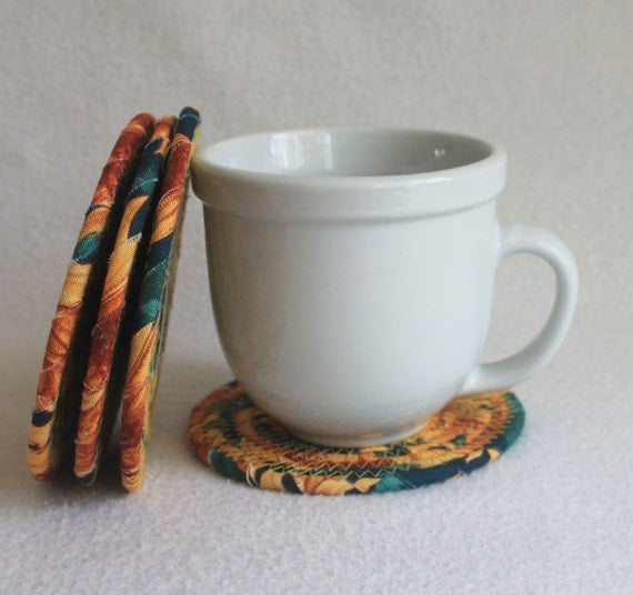Coiled Fabric Coasters / Sunflower / set of 4 / by PrairieThreads
