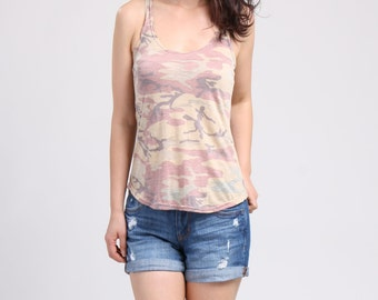 Racer Back Tank Top, Pastel Tank Top, Fit and Flare Tank Top, Yoga Top / Handmade Top - Camouflage