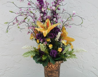 "Tall Silk Lillie's,""Peace in the Chapel"", Silk Funeral Floral, Purple and Yellow, Church Floral Design, Tall Centerpiece,Chalice Centerpiece"