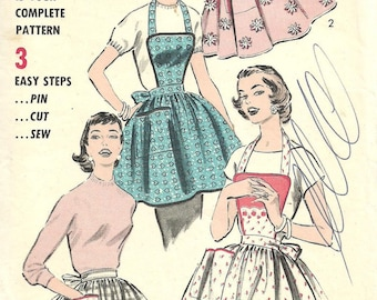 Vintage 50s Sewing Pattern / Advance 8160 / Bibbed Full Or Half Apron / Pinafore