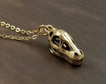 Dinosaur Fossil Skull Necklace, Gold Dinosaur Skull Charm on a Gold Cable Chain