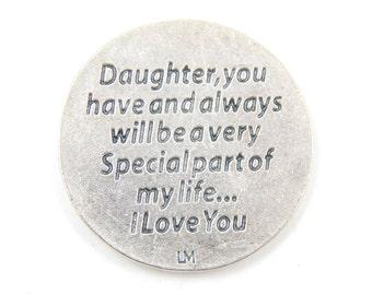 LARGE Daughter I Love You Medal -  Pocket Token - Pocket Medals - Gifts for Daughters - Flower Medallion