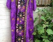 African Kaftan Purple Cotton Batik Effect  - Vintage but never worn