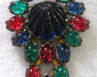 Antique Paste Gems Dress or Shoe Clip Art Deco