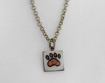 Paw Print Necklace, Paw Print Jewelry, Paw Print Charm, Pawprint Necklace, Small White Necklace, Carved Golf Ball