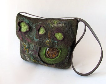 Messenger bag  Original  bag Felted  handbag  felt purse  crossbody bag Green brown