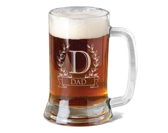 16 Oz Monogram Gift for Dad Fathers Day Beer Mug Engraved Father's Personalized Stein Etched Gift for Father Grandpa