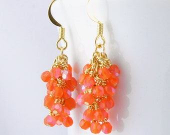 Matte Orange Cluster Dangle Earrings in Gold with Golden Surgical Steel Ear Wires