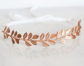 Large Leaves, Rose Gold Leaf Crown -  Bridal or Special Occasion Headband, Rose Gold Leaf Headband, halo, crown, Boho hair piece