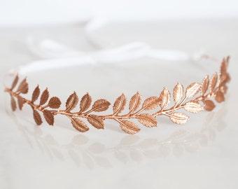 Large Leaves, Rose Gold Leaf Crown -  Bridal or Special Occasion Headband, Rose Gold Leaf Headband, halo, crown, Boho hair piece