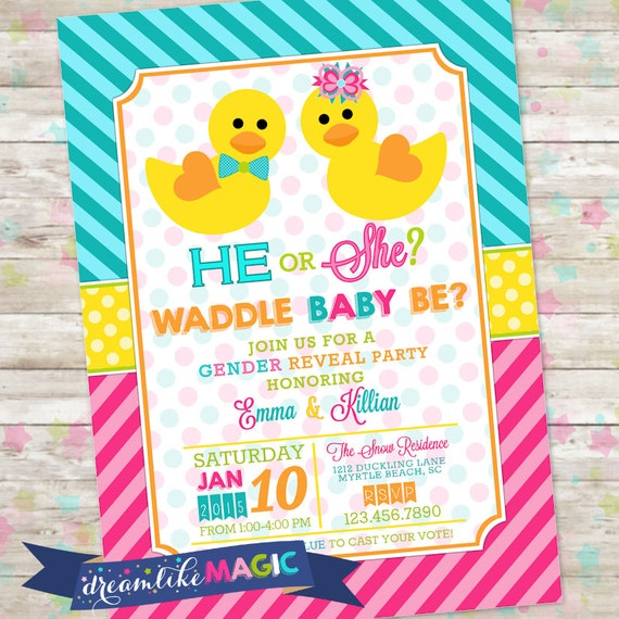 Waddle It Be Duck Gender Reveal Invite He Or She Rubber