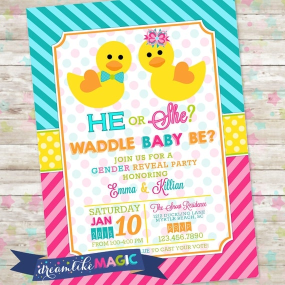Waddle It Be Gender Reveal Invitations - Premium Invitation Template Design by 2 Feathers Tipi
