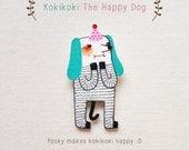 Kokikoki The Happy Dog - Handmade Shrink Plastic Brooch or Magnet - Wearable Art - Made to Order