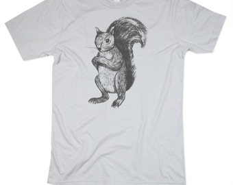 Guys Squirrel Shirt - Squirrel TShirt - Mens Basic Crew Neck, Squirrels, brown squirrel, feeling squirrely, Small, Medium, Large, XL, 2XL