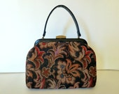 Vintage  Tapestry Purse,  50s Carpet Bag, 50s Black Handbag, Retro  Tapestry Purse, Mad Men Handbag, 1950s Purse