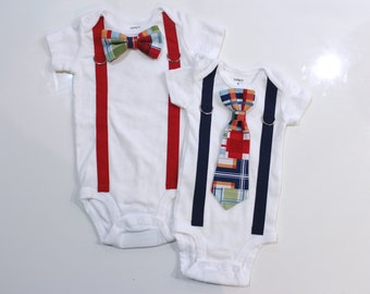 Madras Plaid Baby Bowtie and Suspenders Outfit. Just like dad. Preppy baby boy clothes. Newborn coming home outfit. Summer boy clothes.