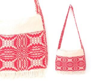 Woven Satchel Bag * Vintage 70s Purse * 1970s Wool Shoulder Bag