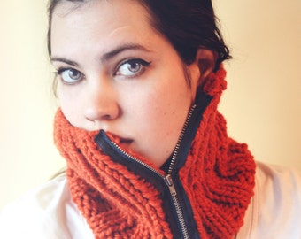 Orange Zipper Ribbed Knit Cowl - orange and navy - men or women