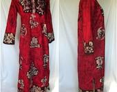 Vintage 1960s/70s Batik Caftan, Maxi Dress, Embroidery, Cotton, Made in India, Hippie, Boho, M/L