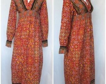 1960s India Maxi Dress, Hippie Block Print, Cheesecloth Cotton, Small/Medium