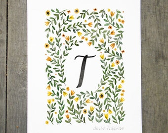 Monogram Letter T floral art print
