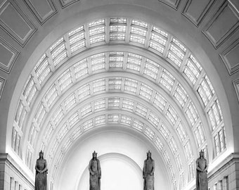 Union Station, Washington DC Wall Art, Black and White Photography, Art Deco, Architecture, Office Decor, Travel