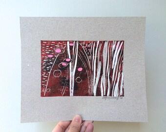 Mixed media original blockprint art
