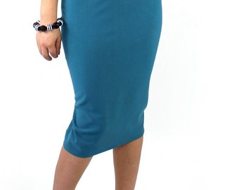 Classic High Waisted Pinup Teal Fitted Pencil Skirt