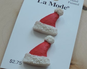 Santa Claus Hat Buttons by La Mode Hand Painted Buttons Carded Set of 2 Style 1248