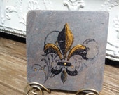 Fleur de lis -  slate tile with Stand included